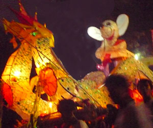 Big Brother Mouse float at Luang Prabang's Fire Boat festival