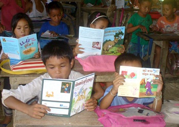 The first day of a daily Sustained Silent Reading at a primary school in Laos