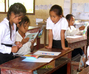 a book party in a rural Lao village