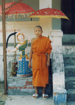 Khamla at a wat (Buddhist temple). He spent his teenage years as a novice monk